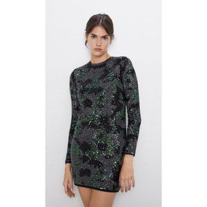 Zara Green & Black Print Dress with Sequins Small